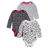 Lamaze Baby Girls Organic 3 Pack Longsleeve Bodysuits, White, 24M