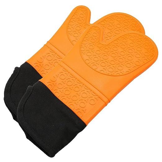 Silicona Horno mitts-heat resistente al manopla de cocina guantes ...