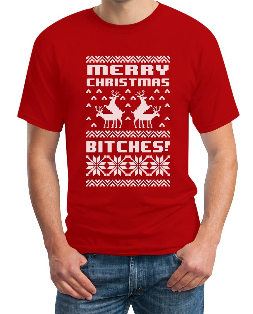 Merry Christmas Bitches T-Shirt - Lustiger Weihnachtspulli: Amazon.de:  Bekleidung