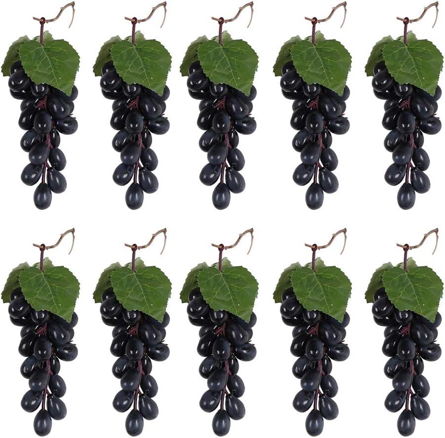 Gjyia 10 piezas de uvas artificiales para colgar en color negro y morado