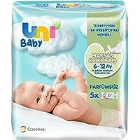 Uni Baby 7904264 Hassas Dokunuş Islak Mendil 5'li 260 Yaprak, Beyaz