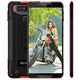 Rugged Cell phone CUBOT Quest Unlocked Smartphone, 4000mAh, IP68 Waterproof, 5.5 Inch HD Display, 4GB RAM+64GB, AT&T/T-Mobile,Dual 4G SIM,Android 9.0, Face ID, Fingerprint, no Bloatware, Black and Red