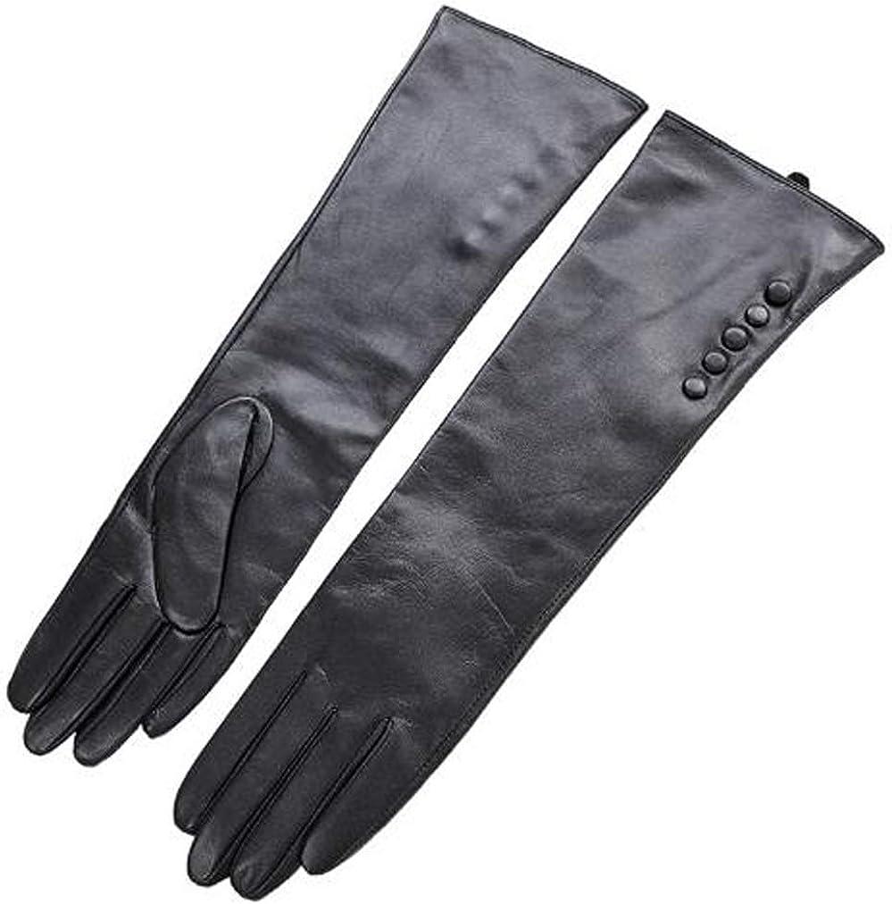 Vestido de noche largo de guantes de cuero para mujer de invierno Los mensajes de texto de la pantalla táctil mangas del traje de lana forrada con pliegues del codo Longitud,Negro,XL