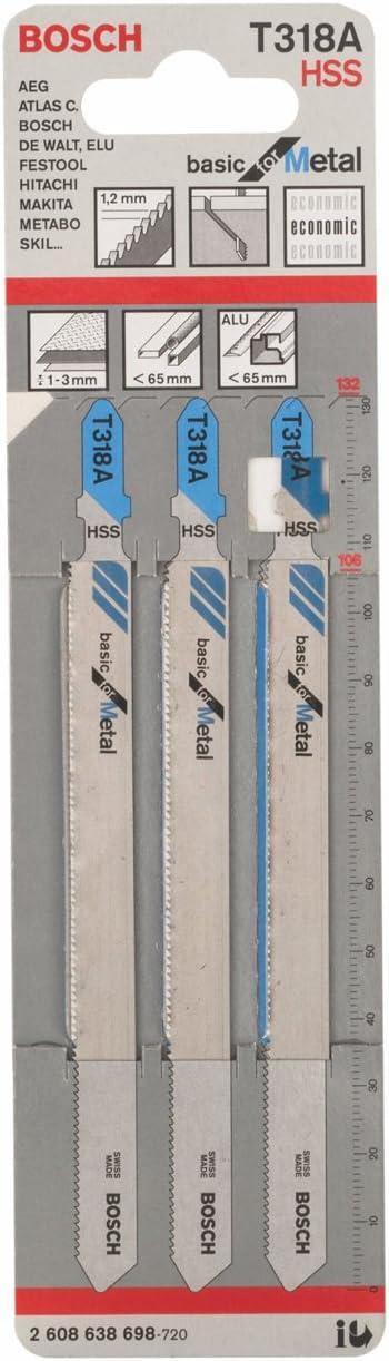 Bosch 2 608 638 698 - Hoja de sierra de calar T 318 A - Basic for Metal (pack de 3)