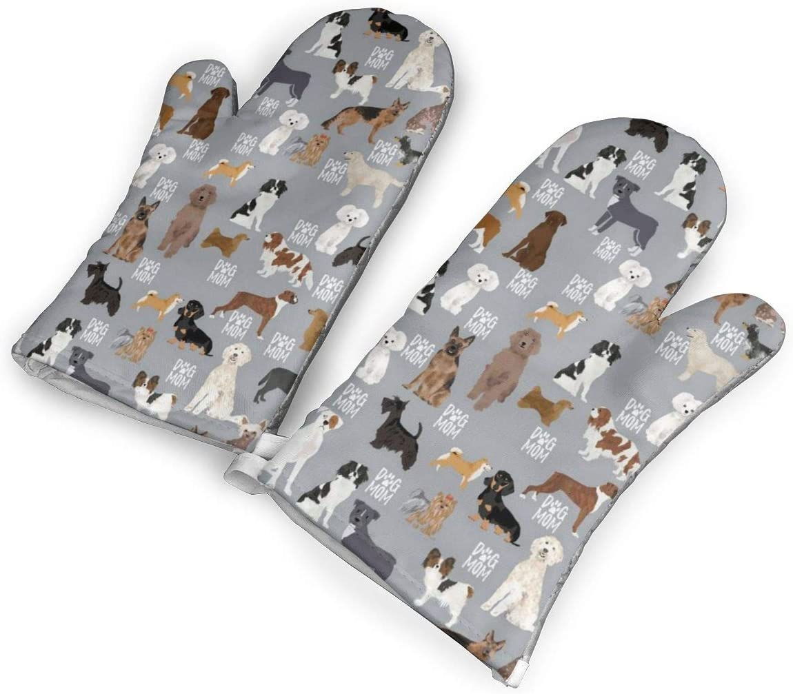 TMVFPYR Dogs Mom01 Oven Mitts, Non-Slip Silicone Oven Mitts, Extra Long Kitchen Mitts, Heat Resistant to 500Fahrenheit Degrees Kitchen Oven Gloves
