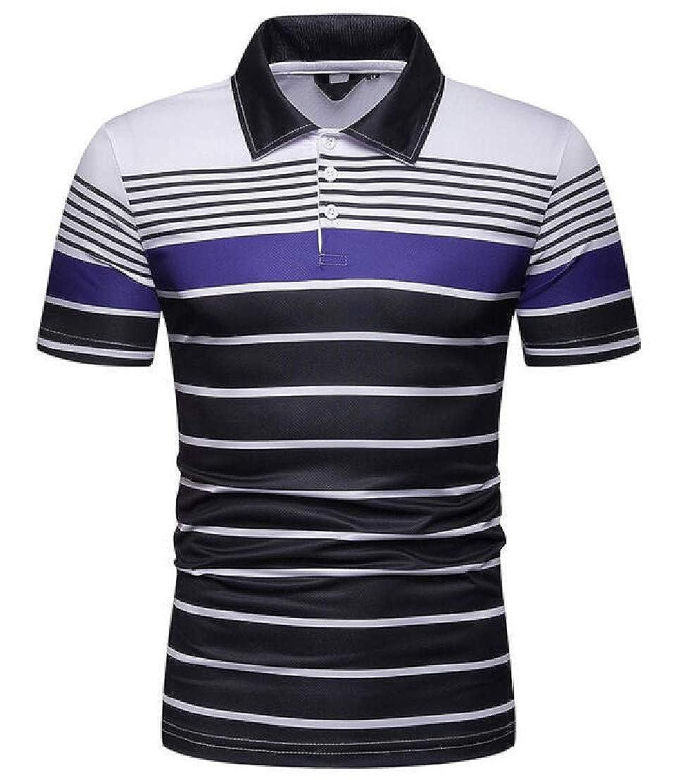 UUYUK Men Short Sleeve Horizontal Stripes Summer Fitted Contrast Polo Shirt