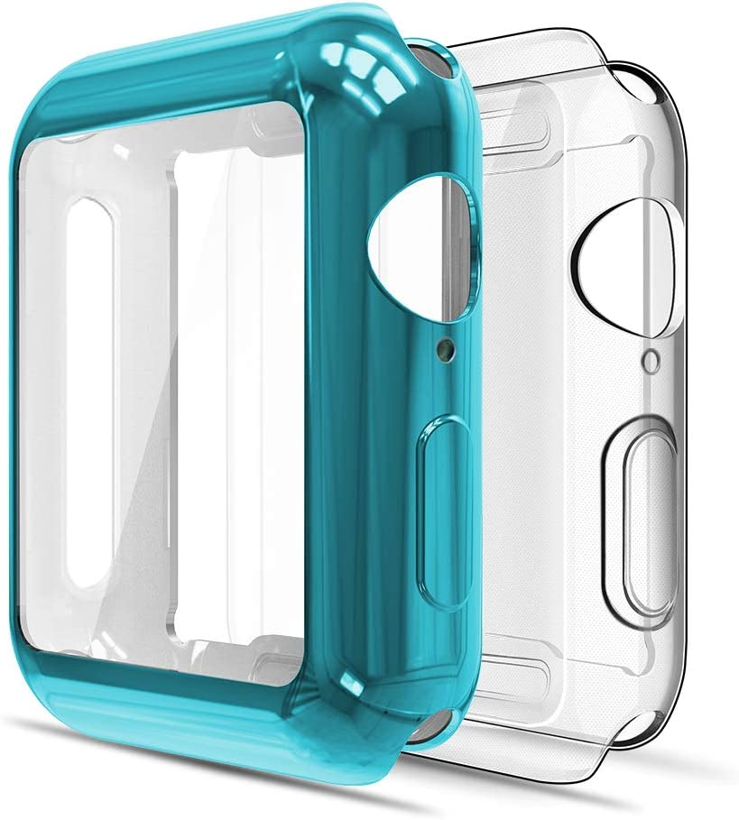 Simpeak Soft Screen Protector Bumper Case Compatible with Apple Watch 40mm Series 4 Series 5 Series 6 / SE, 2 Pack, Full Coverage Case Replacement for iWatch 40 mm, Clear+Blue