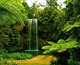 Waterfall in the Green Forest Wall Mural Non-Woven Photo Wallpaper MADE in EUROPE for Living Room Family Room Bedroom, 11'10''(H) x 8'10''(V) (360x270 cm)
