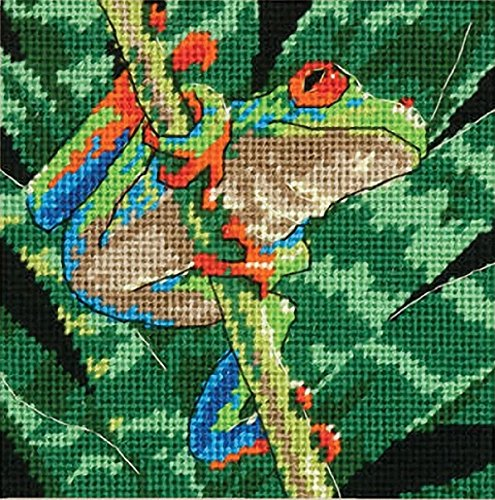 Dimensions 71-07234 Red-Eyed Leaf Frog in Rain Forest Needlepoint Kit