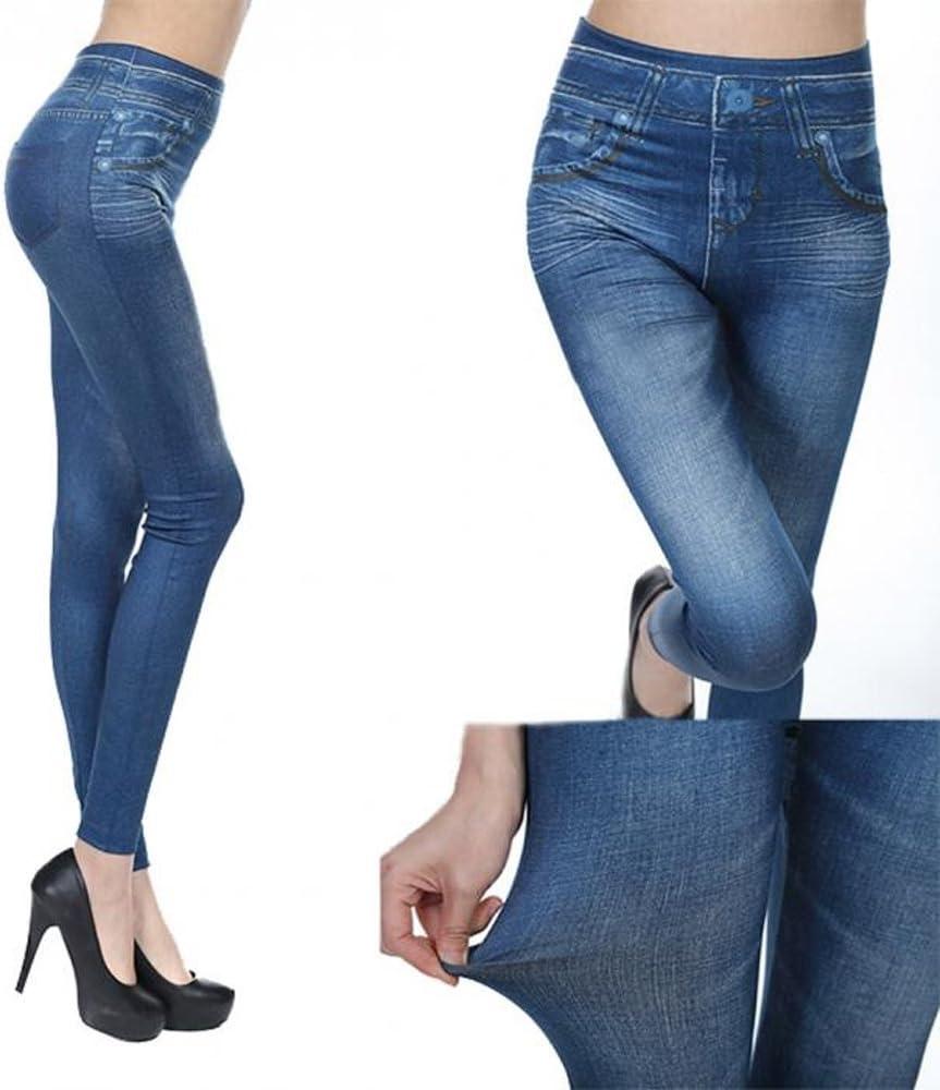 outletissimo/® Leggins da Donna Effetto Jeans Blu Taglia Unica M L XL Pantacollant Pantaloni