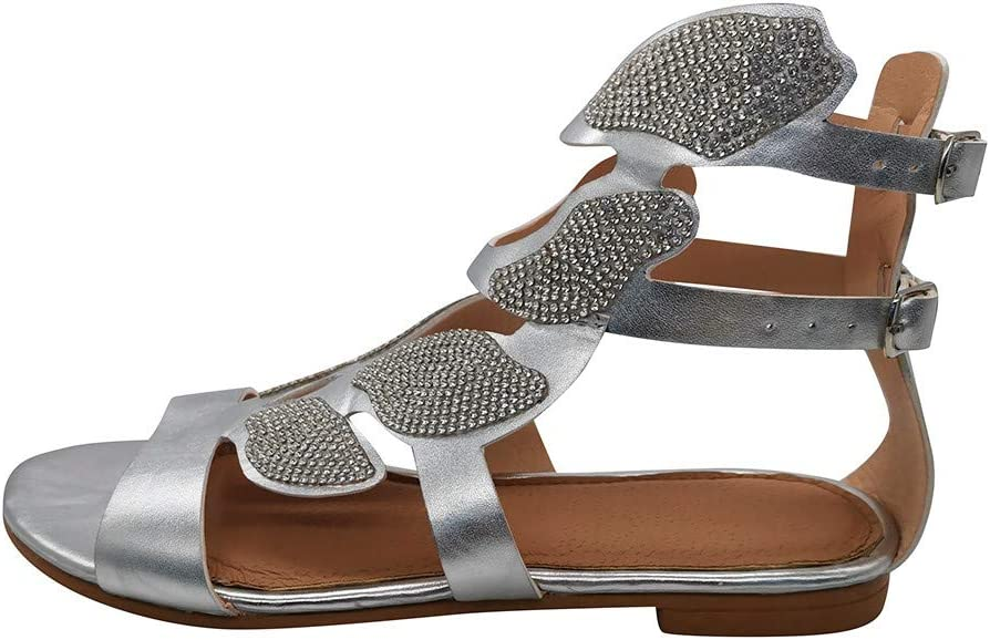 Gold,9 Toimothcn Womens Casual Crystal Sandals Open Toe Rhinestone Sandals Low Heel Flats Shoes