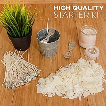 """5lb Bag with 100ct 6/"""" Pre-Waxed Candle Wicks Hearts and Crafts Soy Candle Wax and Wicks for Candle Making 2 Centering Device All-Natural"""