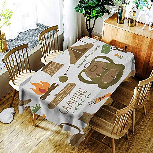 - XXANS Washable Tablecloth,Adventure,Camping Equipment Sleeping Bag Boots Campfire Shovel Hatchet Log Artwork Print,Table Cover for Dining,W52x70L Multicolor