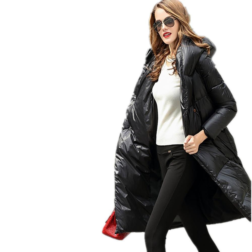 SHISHANG La chaqueta larga de señora abajo cubrió el pato blanco abajo que espesa la ropa de las mujeres encapuchadas de la capa del invierno del estilo del estilo flojo 3 color opcional