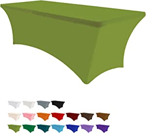 Eurmax 4Ft Rectangular Fitted Spandex Tablecloths Wedding Party Patio Table Covers Event Stretchable Tablecloth (Kelly Green)