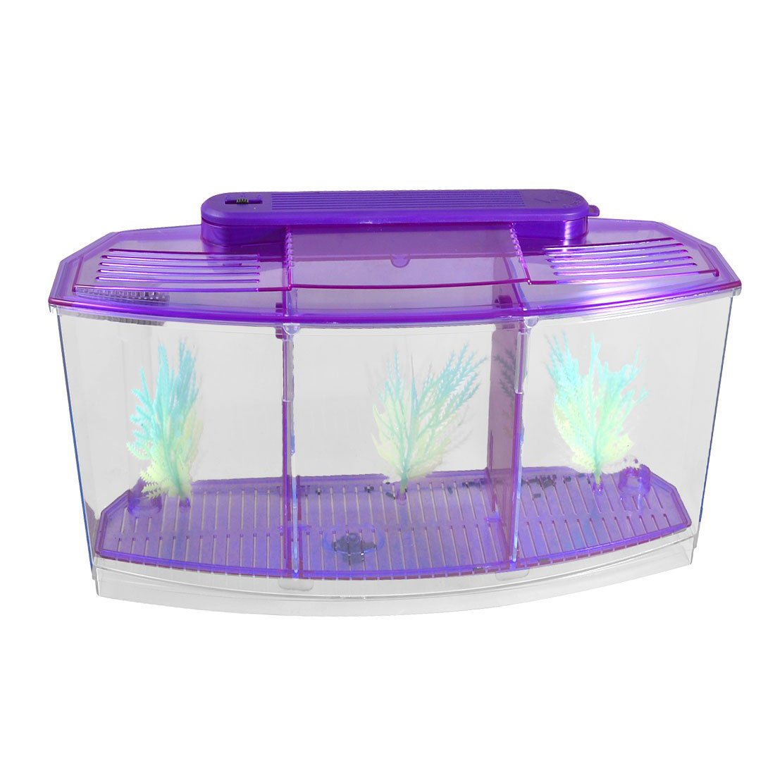 SODIAL(R) Klar Lila Kunststoff Batteriebetriebene LED-Lampe Mini Desktop Fisch Aquarium
