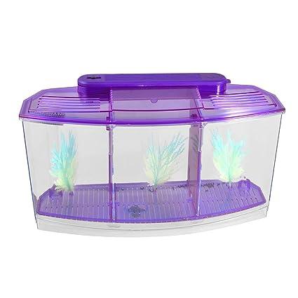 TOOGOO(R) Acuario de peces de escritorio mini lampara LED con bateria de plastico