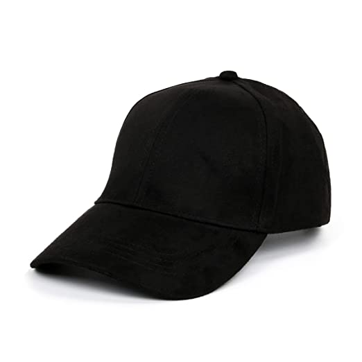 fa01c1511c001d CUSFULL Soft Faux Suede Leather Baseball Cap Adjustable Classic Sports Hat -Black