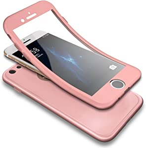 iPhone 6S Case,iPhone 6 Case,PHEZEN Shockproof 360 Degree Full Body Protection Slim Fit Front and Back Matte TPU Silicone Case with Tempered Glass Screen Protector for iPhone 6/6S, Rose Gold