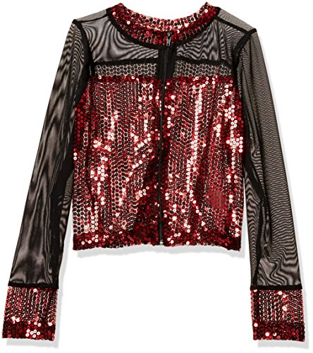 Gia-Mia Dance Big Girls' Sequin Jacket Dance Stretch Mesh Jazz Hip Hop Costume Performance Team, Red, L - Jazz Hip Hop Dance Costumes