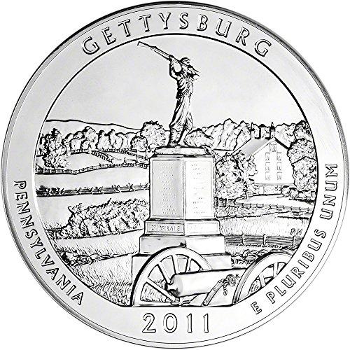 2011 ATB Silver (5 oz) Gettysburg Quarter Brilliant Uncirculated US Mint