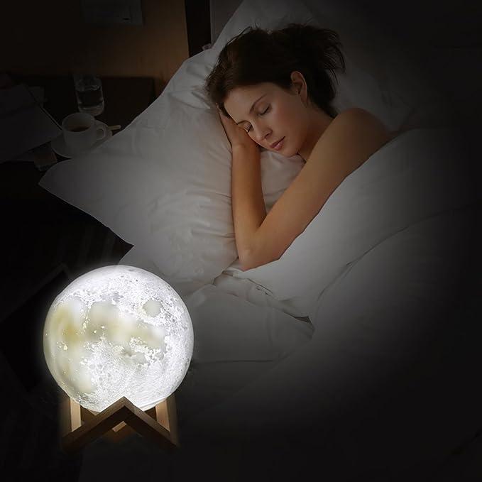 3D Mond Licht 15cm LED Nachttischlampe Mond Lampe+Touch Control für Kinder Sleep