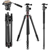 Black Small Size MEETBM ZIMO,Heavy Duty Video Camera Tripod Action Fluid Drag Head with Sliding Plate for DSLR /& SLR Cameras Color : Black