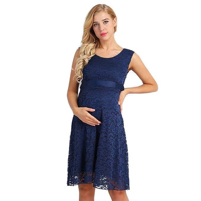 iEFiEL Vestido de Maternidad Sin Manga Vestido Premamá Fiesta Boda Embarazada de Encaje Floral Moderna Azul