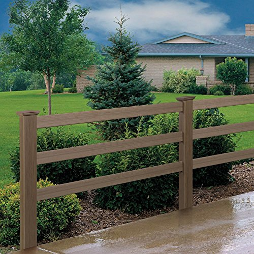 (5 in. x 5 in. x 7 ft. Vinyl Weathered Cedar Ranch 3-Rail Fence Line Post)