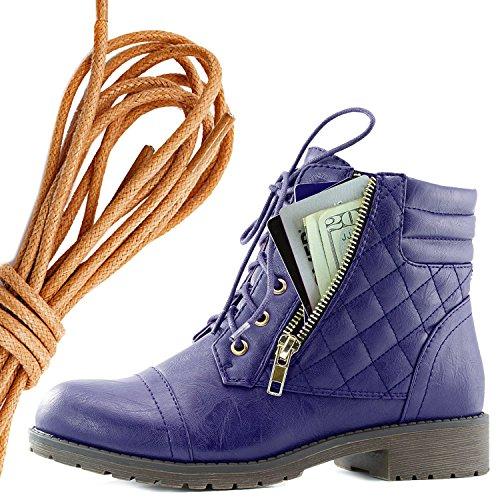 Dailyshoes Kvinna Militär Snörning Spänne Bekämpa Stövlar Fotled Hög Exklusiva Kreditkortsficka, Solbränna Lila Pu