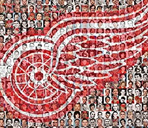 """NHL Detroit Redwings Photo Mosaic Print Art Designed Using 100 of the Greatest Redwings Players of All Time- 8x10"""" Matted"""