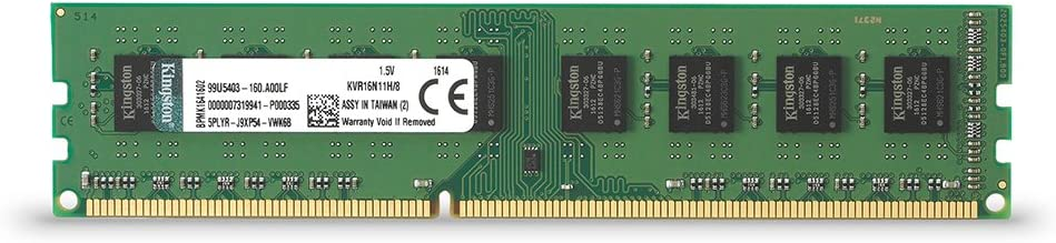 Kingston KVR16N11H/8 RAM 8 GB 1600 MHz DDR3 Non-ECC CL11 DIMM, 240-Pin, 1.5  V - Green: Amazon.co.uk: Computers & Accessories