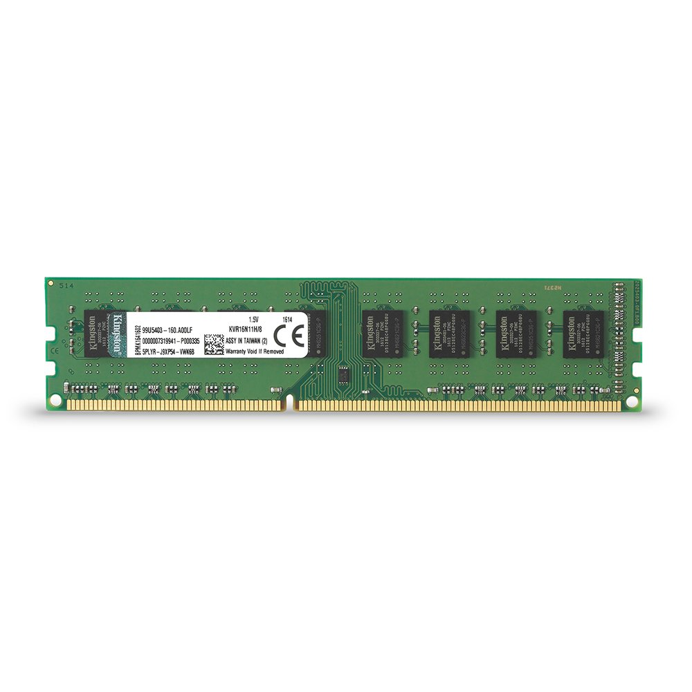 Kingston ValueRAM 8GB 1600MHz DDR3 Non - ECC CL11 DIMM STD Height 30mm Desktop Memory KVR16N11H/8