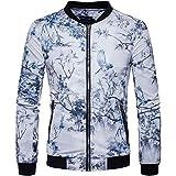 Men's Classic Printed Bomber Jacket Sportswear Lightweight Zip Front Jacket Coat