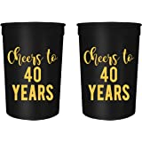Cheers To 40 Years 40th Birthday Party Cups Set Of 12 16oz Black