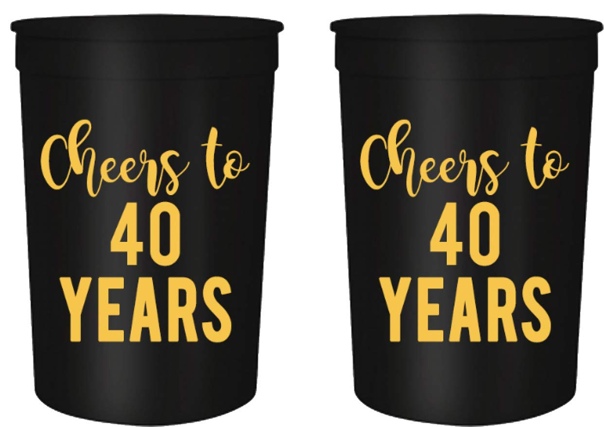 Cheers to 40 Years, 40th Birthday Party Cups, Set of 12, 16oz Black and Gold Stadium 40th Birthday Cups, Perfect for Birthday Parties, Birthday Decorations