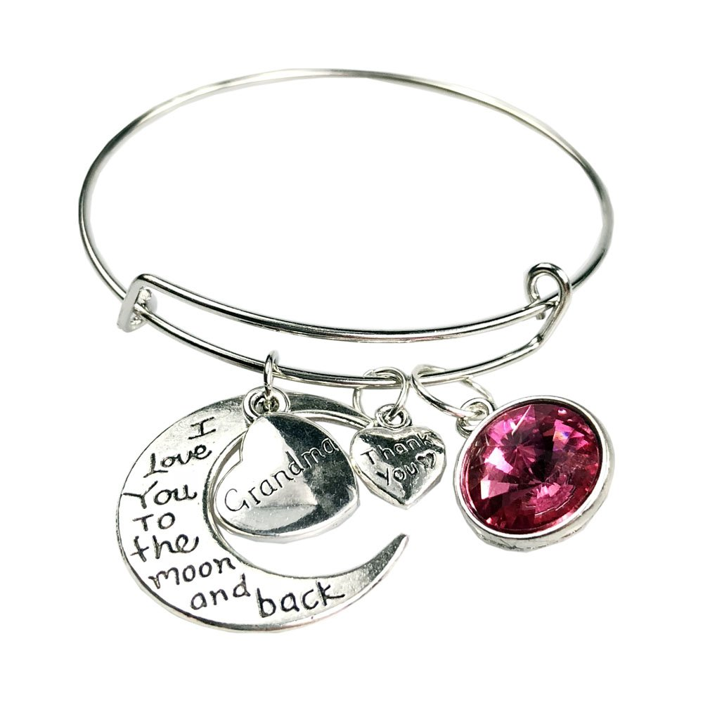 MOONBCT Stainless Steel Adjustable Inspirational Bangle Bracelets, I Love You To The Moon and Back (Grandma)