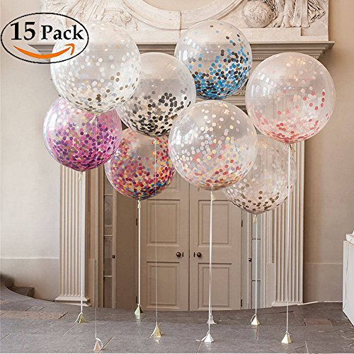 alloons 12 Inch Latex Balloon with Multicolor Confetti for Wedding Party Decorations, a Baby Shower or Birthday Party Décor (12 Inch) (Red Column)