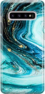 uCOLOR Case Compatible with Galaxy S10+ Plus Turquoise Green Gold Marble Cute Protective Soft Flexible TPU Silicone Shockproof Cover Compatible with Galaxy S10+