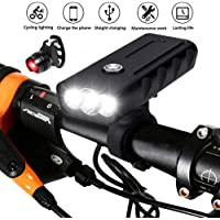 BESTSUN USB Rechargeable Bicycle Front Light and Tail Light Set, Super Bright 3 LED 6000 Lumens Bike Headlight Waterproof Bike Lights Night Cycle Safety Flashlight for Mountain Road Cycling, Riding