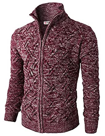 H2H Mens Casual Knitted Cardigan Zip-up with Twisted Pattern at Amazon Men s ...