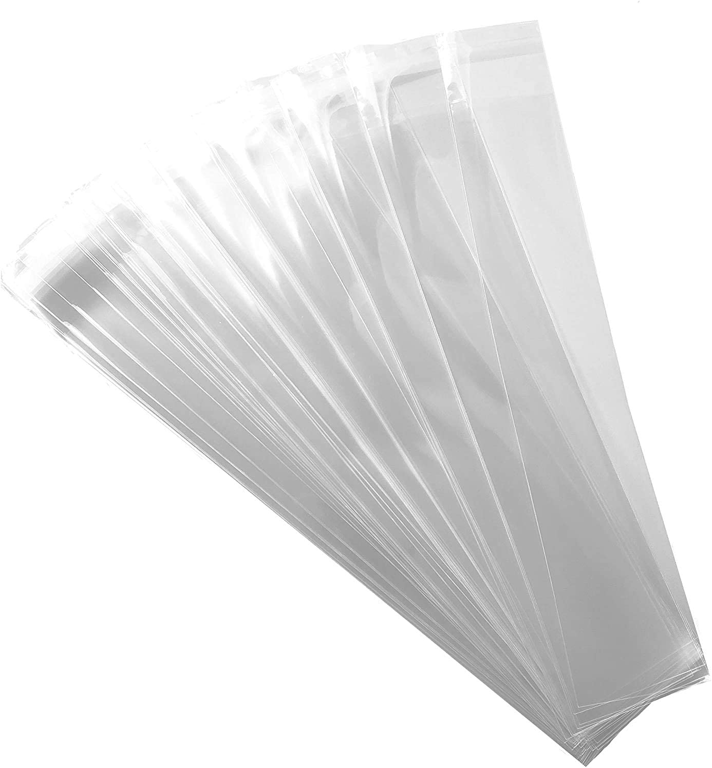 200ct Adhesive Treat Bags 2 x 10 Clear - 1.4 mils Thick Self Sealing OPP Plastic Bags/Clear Flat Resealable Cello (2