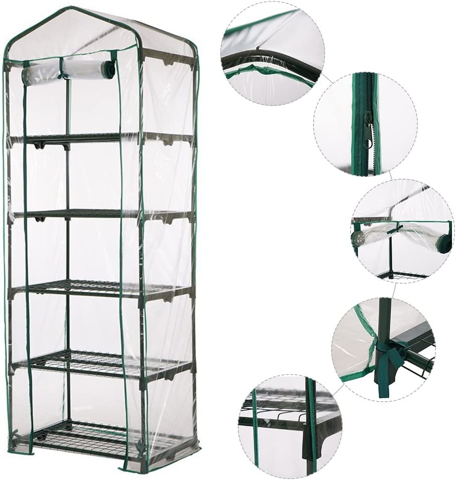 JoyFan Plant Greenhouse,5 Tier Mini Plastic PVC Greenhouse,Household Plants Warm Garden Tent for Indoor Outdoor Seeds Herb Flower Growing Shelf not Included