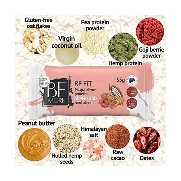 Be More Premium Superfood Raw Bars – 16 pc – Be Fit Peanut Butter-Protein Raw Bar 35 g – No Additives, Dairy Free, Gluten Free and Vegan.