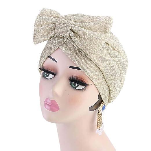 aliveGOT Womens Luxury Bow Turban Hat Chemo Hijab Beanie Cap (Beige ... 9bebf0f8ea8