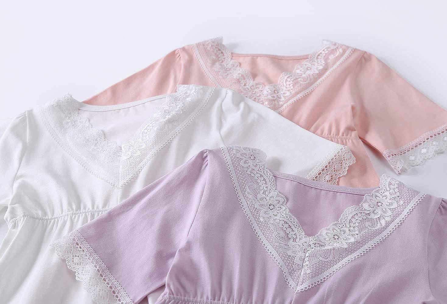 Allmeingeld Girls Princess Nighties Lace Nightgowns 100/% Cotton Sleepwear for 3-10 Years