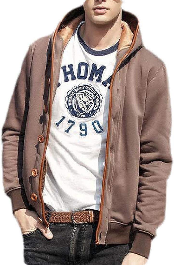 MOUTEN Men Warm Hooded Solid Color Outwear Fall /& Winter Sweatshirt Jacket Coat