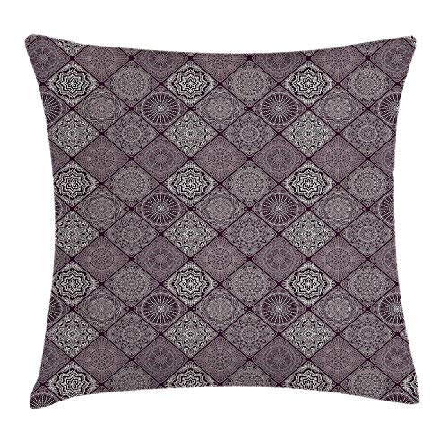 Riolaops Mandala Throw Pillow Cushion Cover, Old Fashioned Ethnic Design with Square Frames and Vintage Henna Art Motifs, Decorative Square Accent Pillow Case, 18 X 18 inches, Eggplant White