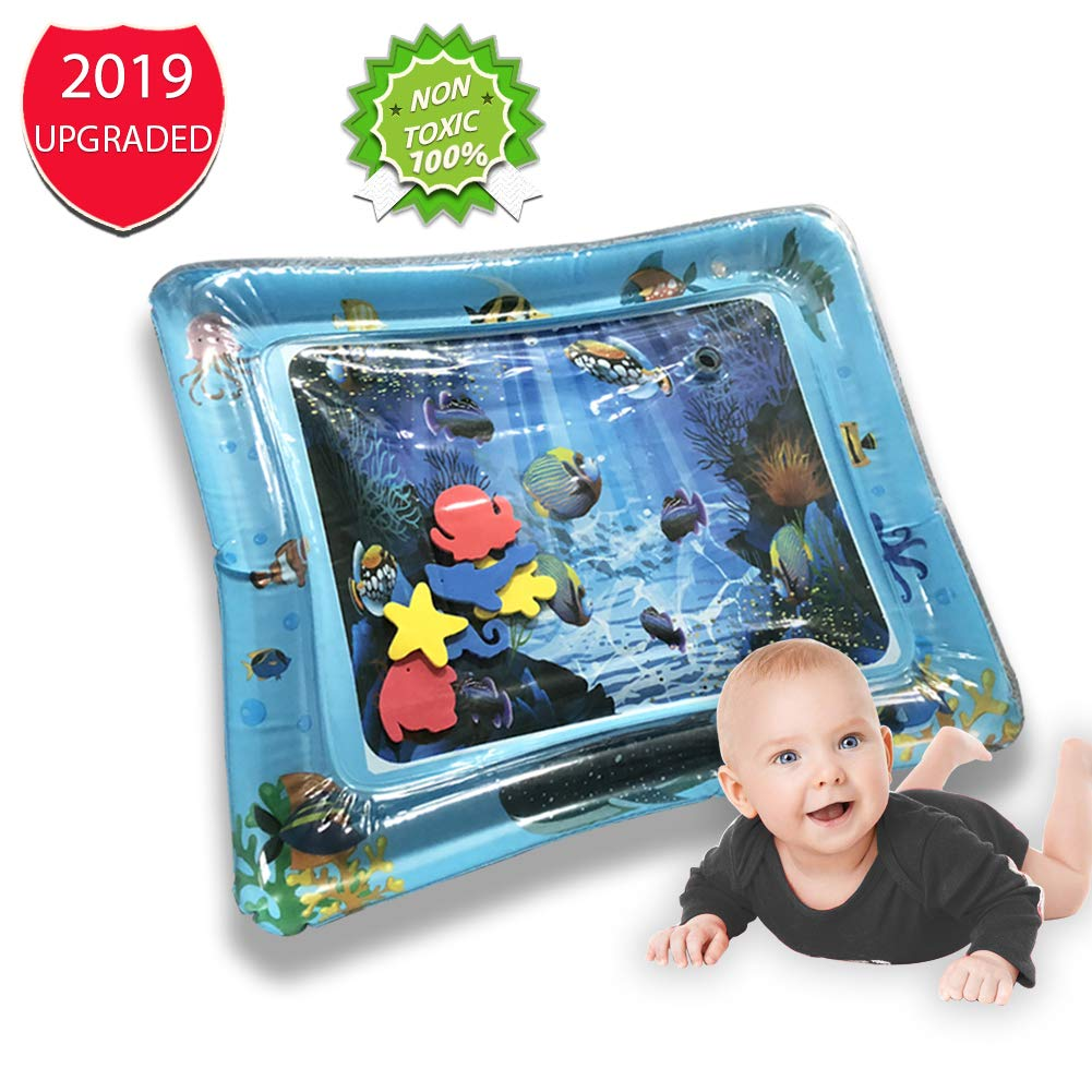 CKE Baby Water Play Mat- Inflatable Baby Water Mat Toys for 3 Month Plus Toddler's Tummy Time & Sensory Water Mat, Newborn Development Mat Toys for Baby Water Activity Mat & Stimulation Growth