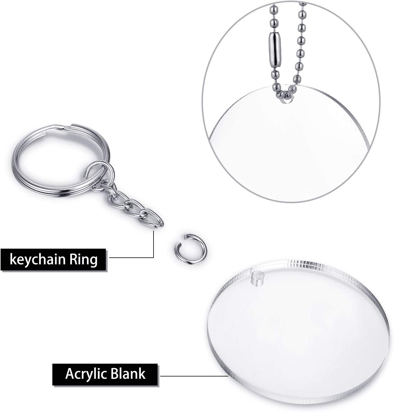 144 Pieces Keychain Tassels Set Transparent Acrylic Circle Discs Jump Rings Keychain Hooks Tassels Pendants for DIY Keyrings Projects and Crafts/